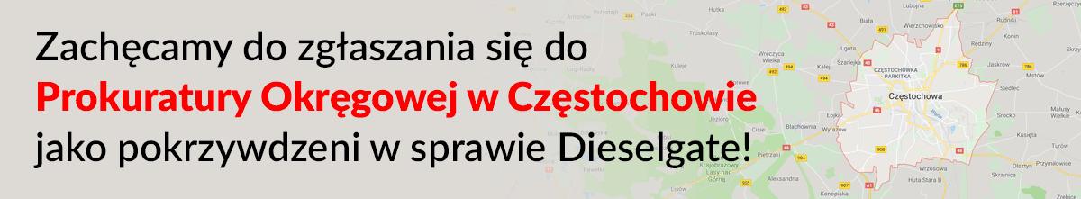 Zachęcamy do zgłaszania się do Prokuratury Okręgowej w Częstochowie jako pokrzywdzeni w sprawie Dieselgate!
