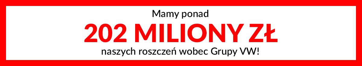 Mamy ponad 202 miliony złotych naszych roszczeń wobec Grupy VW!